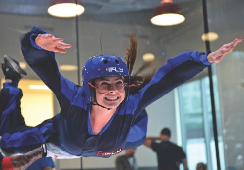 Austin, TX, U.S. May 15, 2013.  A member of V8 Supercar Red Bull Racing Australia tries indoor skydiving at a local facility in Austin, TX. Credit: Cal Sport Media /Alamy Live News